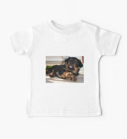 Cute Rottweiler Puppy Being Playful Baby Tee