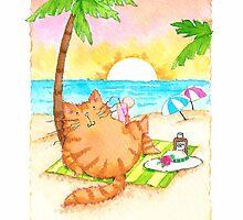 Cat on the Beach by judzart