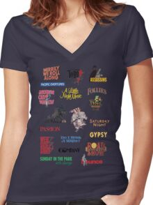 Sondheim Musicals  Women's Fitted V-Neck T-Shirt