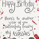 Assassins Birthday Card. by twisteddoodles