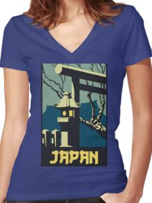 Retro vintage style Japan travel advertising Women's Fitted V-Neck T-Shirt