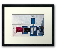 Santorini Laundry Framed Print