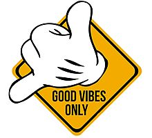 Good Vibes - Hang Loose Fingers Photographic Print