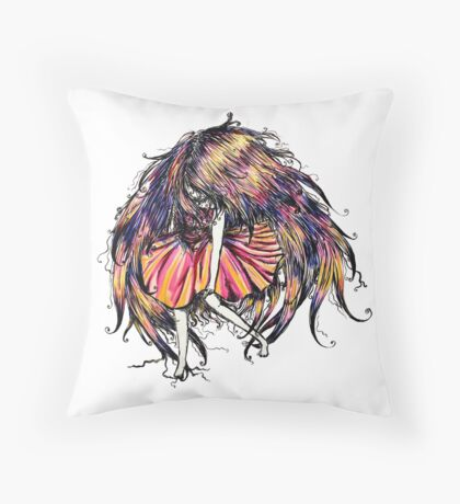 Faceless Girl is floating Throw Pillow