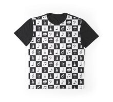 Stylish Modern Music Notes and Instruments Graphic T-Shirt