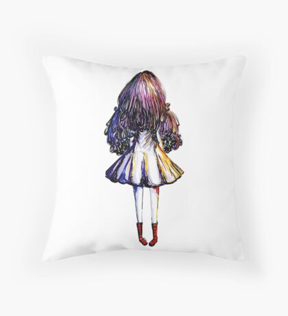 Girl and Red Doc Throw Pillow