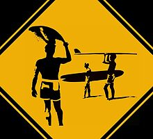 Caution sign. The endless summer surfing design. by 2monthsoff