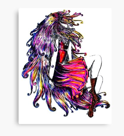 Faceless Girl & Red Doc Canvas Print