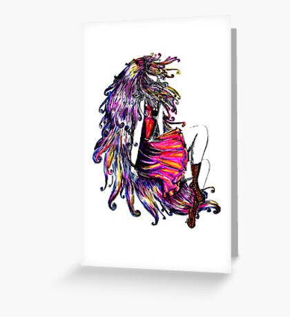Faceless Girl & Red Doc Greeting Card