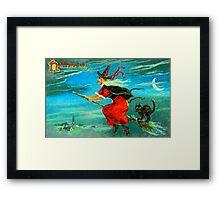 Vintage Halloween Witch Card 0002 Framed Print