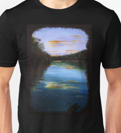 The peaceful river - black swan series #1 Unisex T-Shirt