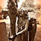 Sepia Art - Angel at the Cross by Jane Neill-Hancock