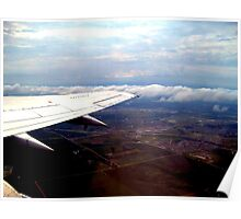 Sitting on the Wing, flying Over The United States Poster