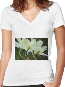A collection of rising Daffodils Women's Fitted V-Neck T-Shirt