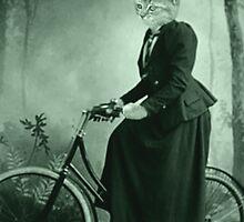 Bike Riding cat women by Rob Hopper