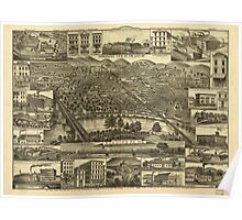 Panoramic Maps Topographic view of the city of Reading Pa 1881 Poster