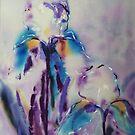 Irises on silk by © Pauline Wherrell