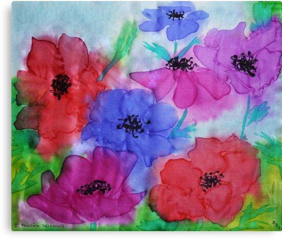 Anemones on silk by © Pauline Wherrell