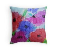 Anemones on silk Throw Pillow