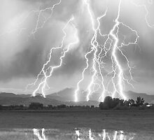 Lightning Striking Longs Peak Foothills  4CBW by Bo Insogna