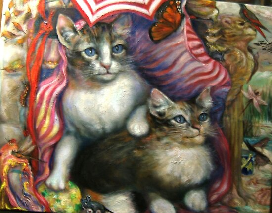 Kittens, Day At The Beach (Detail) by Barbara Sparhawk