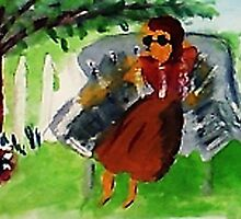 Under the tree on a hot day, watercolor by Anna  Lewis, blind artist
