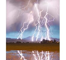 Lightning Striking Longs Peak Foothills  4C Photographic Print