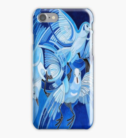 Muge's Pigeons in Blue iPhone Case/Skin