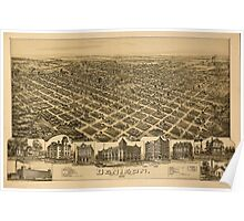 Panoramic Maps Denison Grayson County Texas 1891 Poster