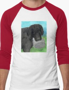 Hungry Newfoundland Dog Cathy Peek Animal Pets Men's Baseball ¾ T-Shirt