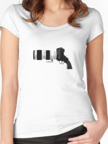 Shoot! (White Barrel) Women's Fitted Scoop T-Shirt