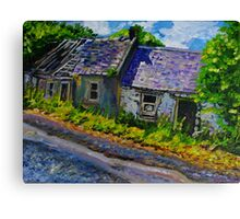 """Ruined Cottages, Roadside, Castlelough, County Tipperary."" Canvas Print"