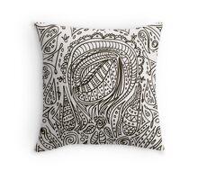 Cute cartoon doodle hipster pattern. Throw Pillow