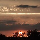 Sunset with eclipse 5/20/2012 and rainy clouds by Sherry Hallemeier