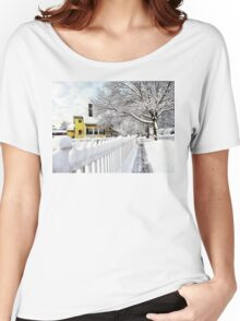 Yellow House with Snow Covered Picket Fence Women's Relaxed Fit T-Shirt