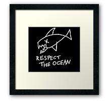 Respect the Ocean - Cool Grunge Mashup - Black Version Framed Print