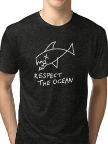 Respect the Ocean - Cool Grunge Mashup - Black Version Tri-blend T-Shirt
