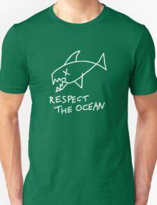 Respect the Ocean - Cool Grunge Mashup - Black Version T-Shirt