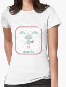 Christmas card with happy rabbit Womens Fitted T-Shirt