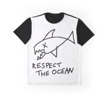 Respect the Ocean - Cool Grunge Mashup - White Version Graphic T-Shirt