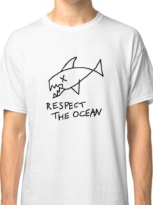 Respect the Ocean - Cool Grunge Mashup - White Version Classic T-Shirt