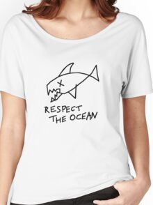 Respect the Ocean - Cool Grunge Mashup - White Version Women's Relaxed Fit T-Shirt