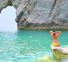 Chillin on a rock...Lalaria Limestone Arch...Skiathos by Honor Kyne