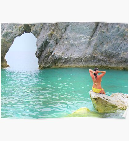 Chillin on a rock...Lalaria Limestone Arch...Skiathos Poster