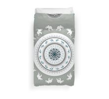 BOHO ELEPHANT DANCE SOFT GREEN Duvet Cover