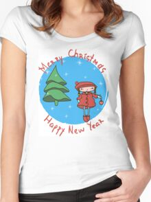 Girl with Christmas ball.  Women's Fitted Scoop T-Shirt