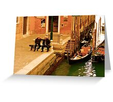 Conversation by the Canal Greeting Card