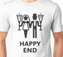 Happy End (Wedding / Marriage / Champagne / White) Unisex T-Shirt