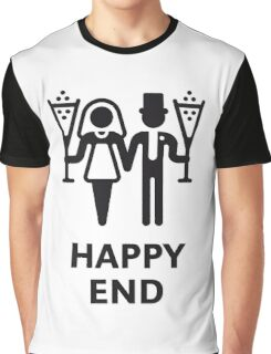 Happy End (Wedding / Marriage / Champagne / White) Graphic T-Shirt