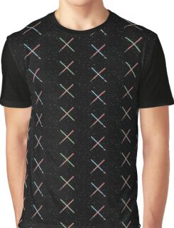 Star Wars Crossed Lightsabers Space pattern Graphic T-Shirt